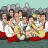 men dancing in the river